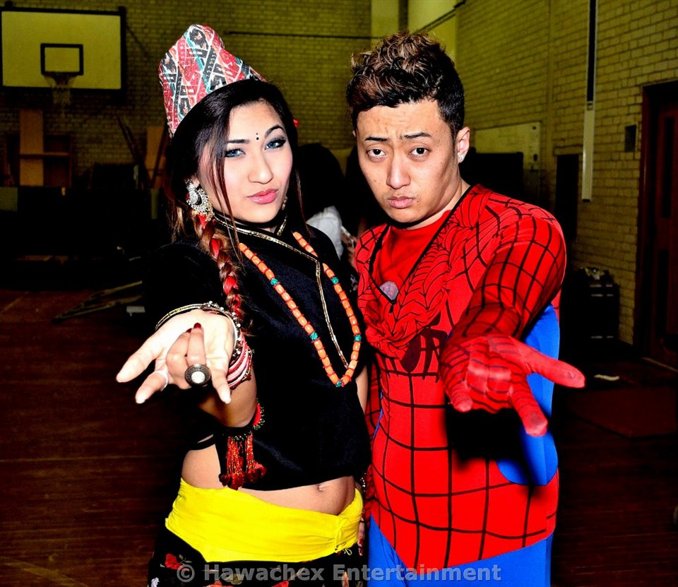 Sabrina with Nepali Spiderman Deepak Gurung. Photo: HawaChex Entertainment