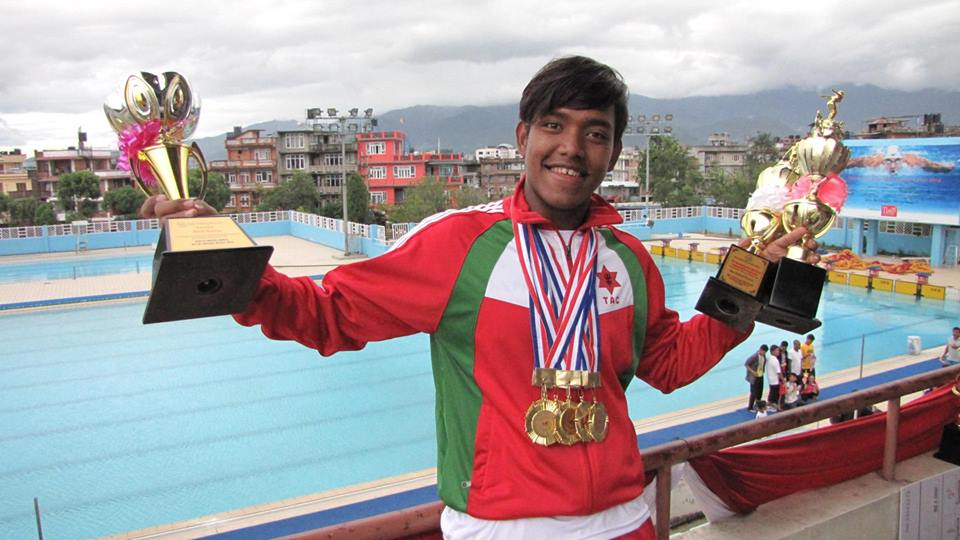 Photo and Caption by Sirish Gurung: 21st National Game ends with 8 golds out of 8 events and again 2 new national records ( 50m backstroke and 100m Backstroke ) . 50m backstroke's record was finally broken after 7 years :) !! In total i have broken national records for 45th time :P !!! Thanks to parents , my coaches and all my well wishers . ‪#‎feelingmotivated‬ ‪#‎SweetSuccess‬ ‪#‎RoadToRio‬