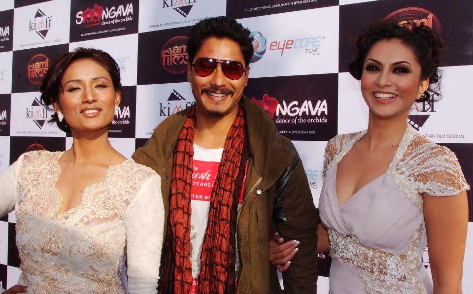 Dia Maskey, Saugat Malla and Nisha Adhikari at the KIMFF Premier
