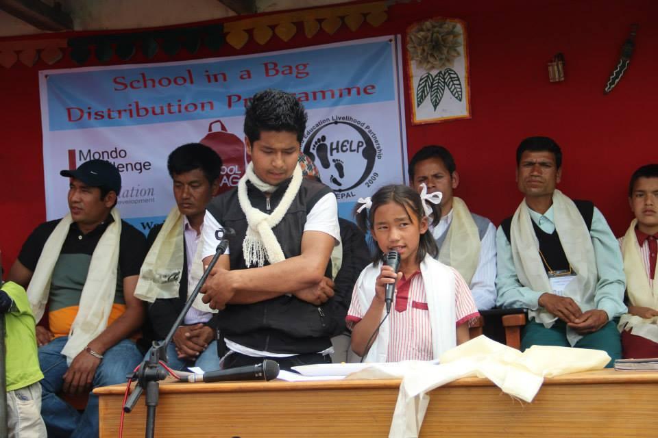 School in a bag ambassador Srijana Waiba