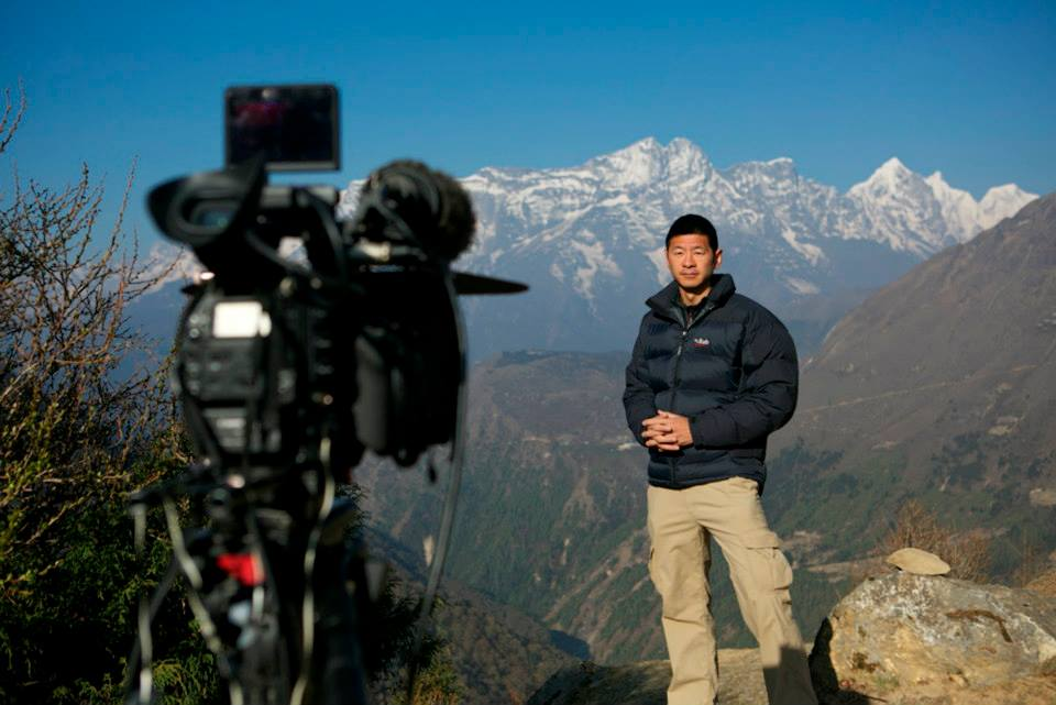 Steve Chao filming the Everest special for 101 East, Al Jazeera.