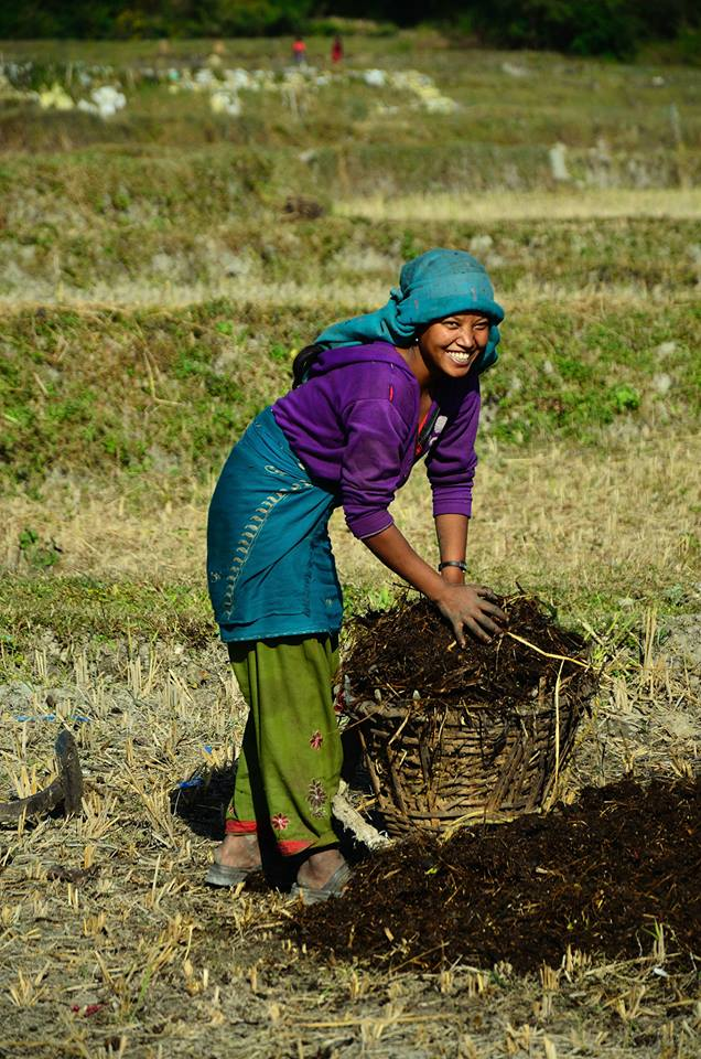 """""""Why would you want to take a picture of someone covered in cow dung (Gobar in Nepali, used as fuel)?"""" But you are beautiful. Laughs. """"Shameless aren't you?"""" - Muna Nagarkoti, Met at a Farm in Thali, Bhaktapur"""