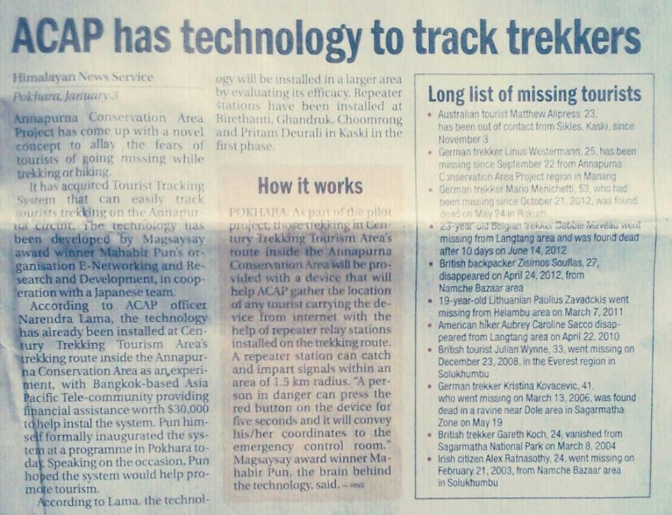 Newspaper Scan. Jan 4, 2014.