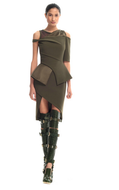 Asymmetrical Regiment Dress $3,195