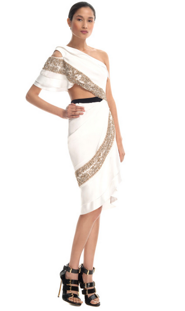 White Embroidered Hand Draped Dress $9,875