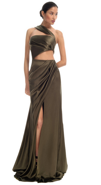 Olive One-Shoulder Evening Gown $4,495