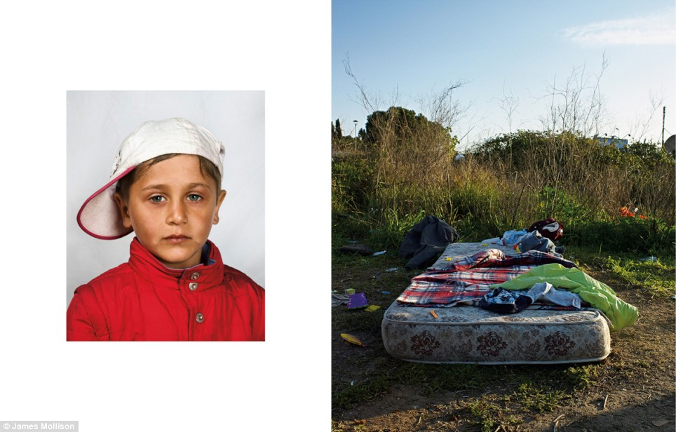 Romanian boy, aged four, Rome, Italy: Not wanting to give his name, this Romanian boy sleeps on a mattress in a field on the outskirts of Rome. The family came from Romania by bus after begging to get money for the tickets. Although they recently lived in a tent,  police threw them off the site for trespassing and they now share the mattress in the open air. This boy spends his days by the road while his parents clean car windscreens at traffic lights. No one in his family has ever been to school.