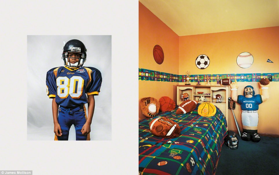 Justin, aged eight, from New Jersey, U.S.: Justin is obsessed with sports and has decorated his room in honour of his passions. He plays American football, basketball and baseball, but football is his favourite. He lives with his family in a four-bedroom house and rides the bus to school with the children from his neighbourhood. High-achieving Justin wants to become the mayor of New Jersey, but says he would settle for being a professional poker player.