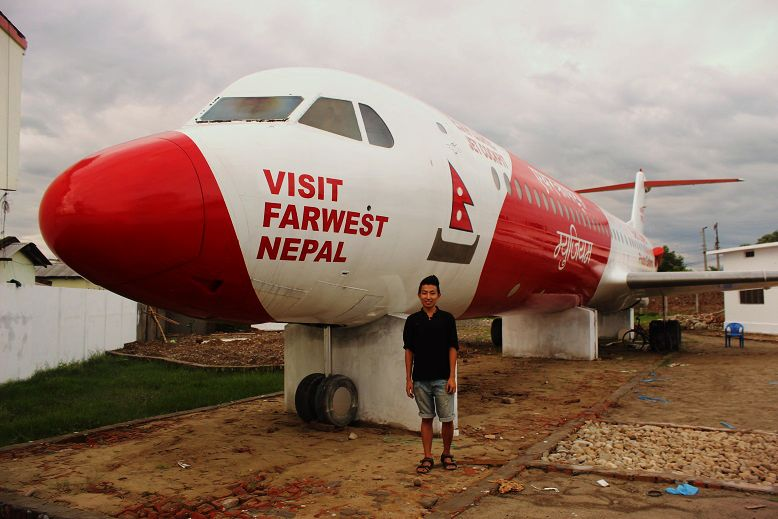 Bed Upreti's Aircraft Museum - promoting FARWEST NEPAL. Opening SOON! That's atually FOKKER 100, previously flown by COSMIC AIR.