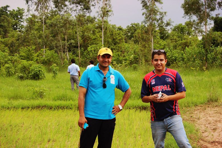 Taekwondo hero Deepak Bista with Yeti Airline marketing manager Roshan Mani Regmi.