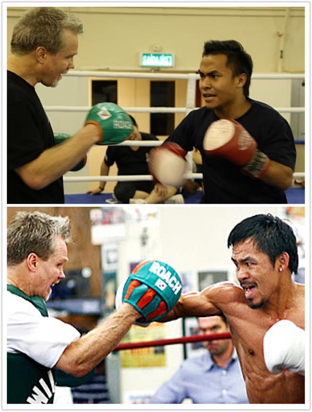 Surez Gurung being trained by Freddie Roach, trainer of the world champion Manny Pacquaio.