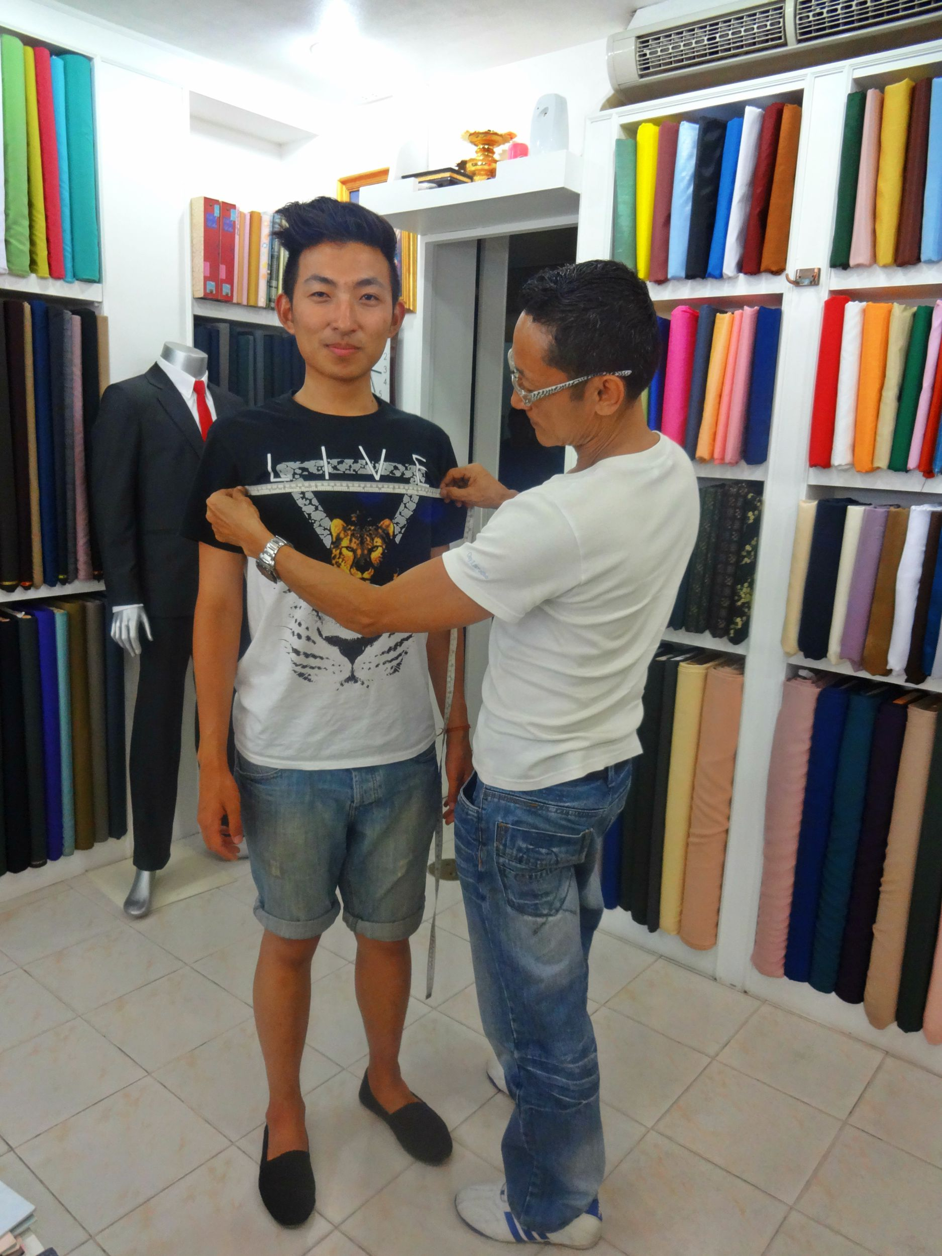 Aug 18: Of course no trip to  the South East is complete without getting a custom tailored suit. Getting measured at BEST Suits, owned by Mr Rai in Phuket Town. They're wonderful.