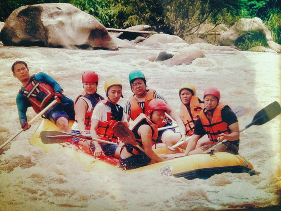 Aug 17: The most unattractive photo of us... rafting in the rivers outside of Chiang Mai. Such a fun day.