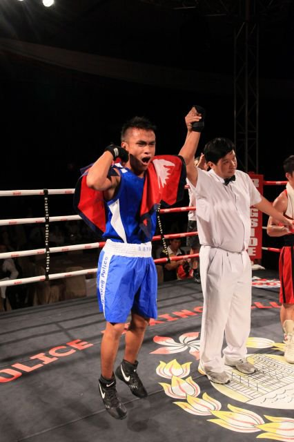 During his amateur boxing fight.